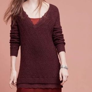 Anthro Knitted and Knotted Burgundy Lace Sweater